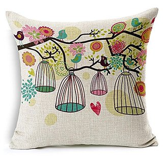 G.T. Cotton Linen Throw Pillow Case Cushion Cover Birds with Birdcage 18 X 18 Inch