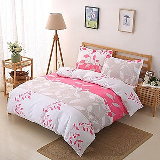 Colourful Snail Well Designed Printed Leaves & Stripe Pattern Duvet Cover Set, Made of Lightweight Polyester microfiber,