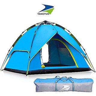 Yangtuo 4 Person Camping Tent With Carry Bag, Multi (Blue),Large