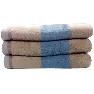 Livingston Home Luxurious 3-Piece Brown Block Bath Towel Set