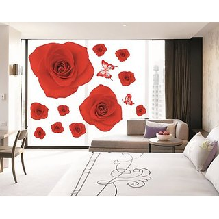 Kappier Bright Romantic Red Roses Peel and Stick Removable Wall Decals