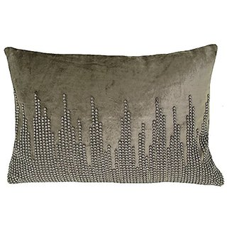 Design Accents KSS0108 GRY1420 Hand Beaded Toss Pillow, 14-Inch by 20-Inch, Grey