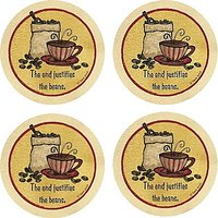 Set Of Four The End Justifies The Beans Occasions Drink Coasters - Style VTR15