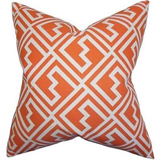 The Pillow Collection Ajamu Geometric Pillow, Lime