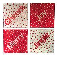 Christmas Polka Dots Glass Coasters, Set Of 4, Cheers, Merry, Jingle, Joy