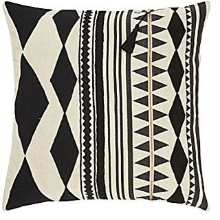 Jaipur Tribal Pattern Black/Ivory Linen Poly Filled Pillow, 22
