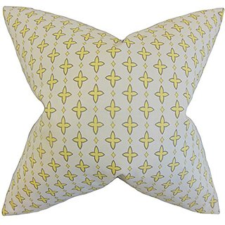The Pillow Collection P20-PP-AGGIE-LEMON-C100 Auden Geometric Pillow, Lemon Gray, 20