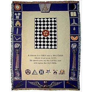 Masonic Symbols Mason Masons Cotton Throw Blanket