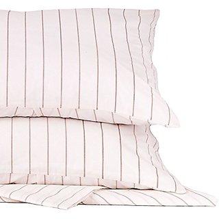 Soft Cotton Pinstripe Duvet Cover Set Bedding Set 3 Pc Set Taupe Pinstripe King Size