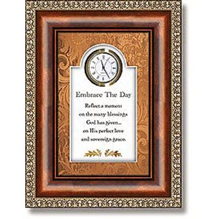 Embrace The Day Clock Christian Verse Polystyrene/Glass/Paper/Metal