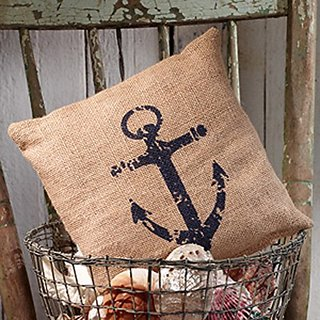 Nautical Ships Anchor - Burlap Accent Pillow - 8-in x 8-in