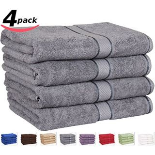 Premium Cotton Bath Towels 4 Pack Grey - (30 Inch x 56 Inch) 100% Ringspun Cotton for Maximum Softness and Absorbency