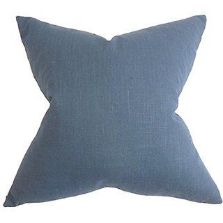 The Pillow Collection P20-ROB-SLUBBEDWEAVE-INDIGO-C1 Ninian Solid Pillow, Blue, 20