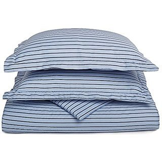 600TC Cotton Rich KING BLUE WITH BLACK STRIPE DUVET COVER SET BY MARRIKAS