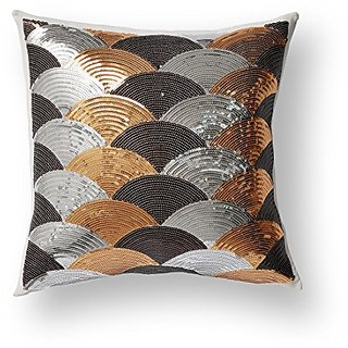 Knitee Sectorial Sequins Splicing Decorative Throw Pillow Cover Cushion Case Square 18