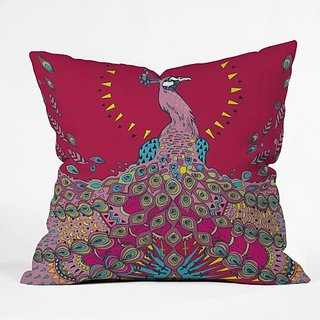 DENY Designs Geronimo Studio Red Peacock Throw Pillow, 18-Inch by 18-Inch