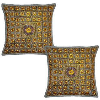 Indian Embroidery & Mirror Work Design Handmade Cotton Cushion Cover 16x16 Inches Mothers Day Gift