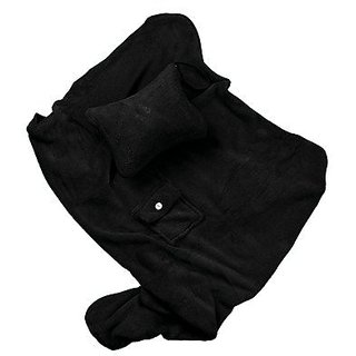 HelloAllyn Soft and Warm Plush Blanket Throw for Home and Travel - Black