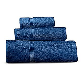 Cheer Collection 3 Piece Luxurious Towel Set - Solid Dark Blue