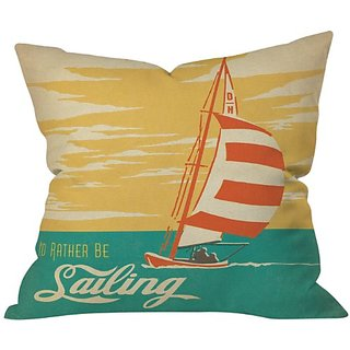 DENY Designs Anderson Design Group I Would Rather Be Sailing Throw Pillow, 18 x 18