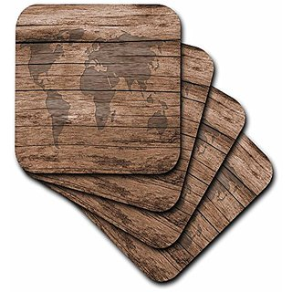 3dRose cst_205047_1 Print of Map of World on Wood Soft Coasters, (Set of 4)