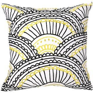 Trina Turk Zebra Stripe Sunrise Embroidered Decorative Pillow, 20 by 20-Inch, Yellow/Black