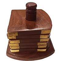 Rosewood Drink Coasters - Wood Coaster Set With 6 Round Handmade Table Coasters And Decorative Wooden Holder For Tea Cup