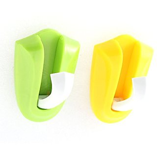 Plastic Household Wall Door Hidden Adhesive Hook Holder Hanger 2 Pcs