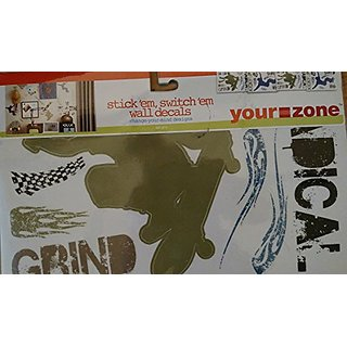 Your Zone Switch Em, Stick Em Wall Decals, Set of 4 Sheets - Blue Multi Extreme Sports
