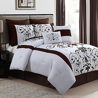 Geneva Home Fashion 8-Piece Cassandra Flocked Comforter Set, King, Chocolate