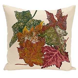 E By Design O5PFN336IV4-20 Autumn Leaves Flower Print Pillow, 20