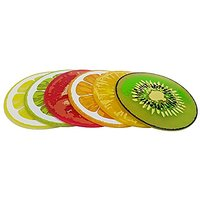 Silicone Coasters Set Of 6 Colorful Fruit Slices By Coulore For Coffee And Wine Lovers - Gift Worthy Decor