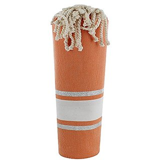 Fouta Beach Towel Orange Cotton White and Silver Lurex Stripes