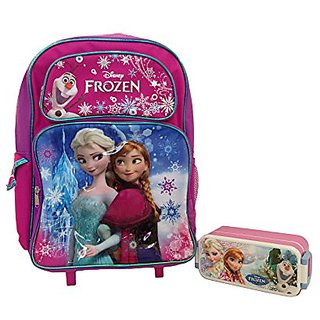 Disney Frozen Elsa & Anna 16 Inches Rolling Backpack with Frozen Lunch Box