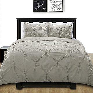 Cotton Basics Cottonesque Pintuck Duvet Cover Mini Set, Twin, Solid, Grey