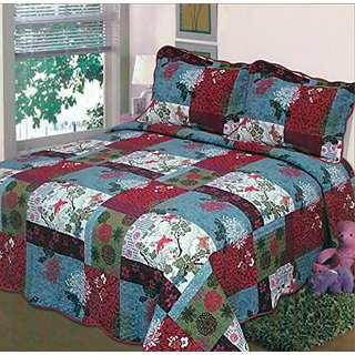 Fancy Collection 3pc Bedspread Bed Cover White blue green red floral print (King)