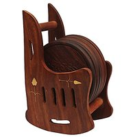 Wooden Drink Coasters Dinner Decor - SouvNear 3.3 Inches Set Of 6 Wood Table Coasters With Rocking Chair Coaster Holder