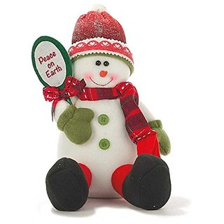Peace on Earth Fabric Christmas Snowman Sitting 9