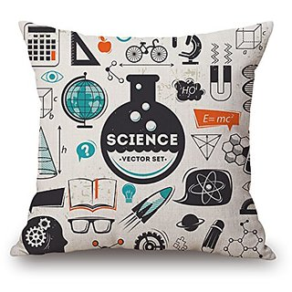 Science Vector Set Decorative Throw Pillow Cover, HomeTaste®Thick Cotton Linen Pillowcase Square Cushion Case for So