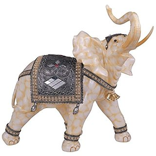 StealStreet Marble Cream Toned Thai Elephant Figurine Statue (Right), 18
