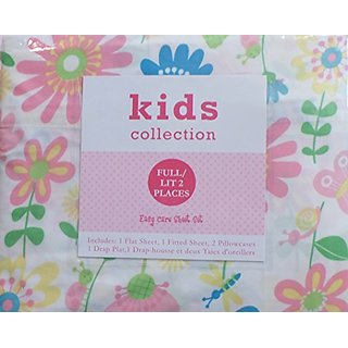 Kids Collection Twin Sheet Set - Pastel Flowers and Butterflies