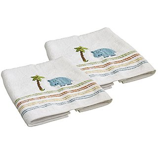 Saturday Knight Limited Safari Hippo 100% Cotton Bath Towel, Set of 2