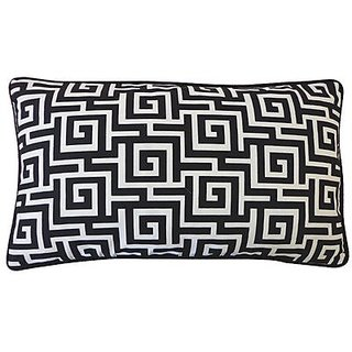 Jiti Puzzle Outdoor Polyester Throw Pillow, 12 by 20-Inch, Black