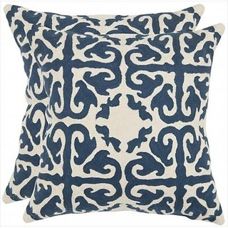 Safavieh Pillows Collection Moroccan Decorative Pillow, 18-Inch, Navy Blue, Set of 2