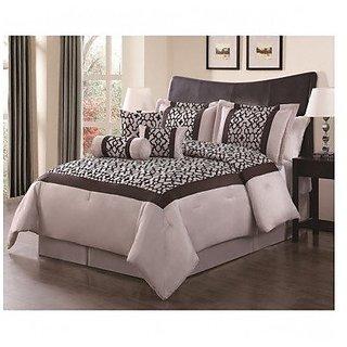 Louise Taupe/Chocloate Flocking 7-piece Comforter Set -Queen