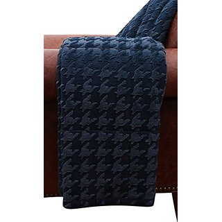 Thro by Marlo Lorenz Phineas Hounds Tooth Faux Fur Throw Pillow, 50 by 60-Inch, Blue Wing Teal