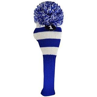 Ray Cook Golf Pom Pom Knit Driver Head Cover, Small, Royal Blue/White
