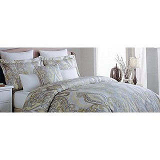 Tahari 3 Piece King Size Duvet Cover Set Paisley Medallion Pattern Yellow Gray White