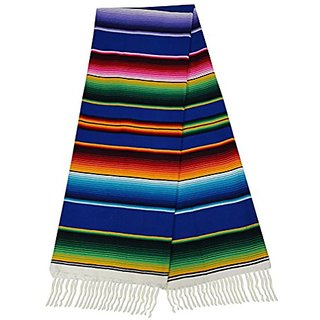 El Paso Designs Extra Large Mexican Serape Blankets (Royal Blue)