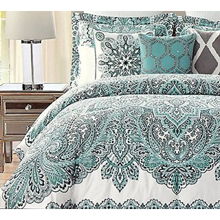 Nicole Miller Bohemian Duvet Cover 3pc Set Ethnic Boho Paisley Medallion Print Teal Blue Green Full/Queen Reversible Bed